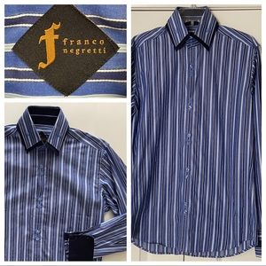 NWOT Men's SM Navy/Blue/ White Striped Dress Shirt